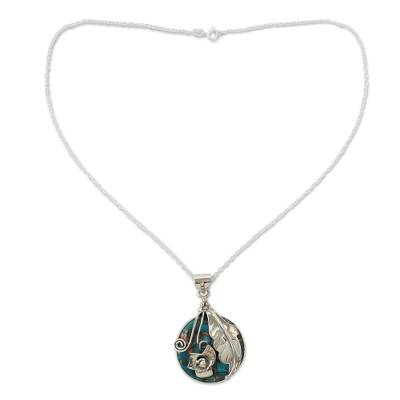Silver Flower Necklace with Composite Turquoise