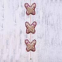 Beaded string ornament, 'Dazzling Pink Butterfly' - Handcrafted Beaded String Ornament