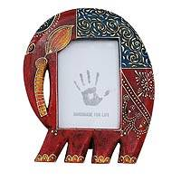 Wood photo frame, 'Happy Elephant' (4x6) - Handcrafted Wood Photo Frame from India (4x6)