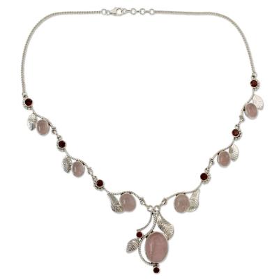 Handmade Necklace Rose Quartz and Garnet from India