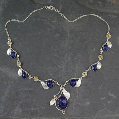 Lapis lazuli and citrine Y-necklace, 'Dew Blossom' - India Jewelry Lapis Lazuli and Citrine Y Necklace
