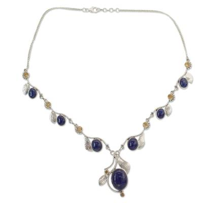India Jewelry Lapis Lazuli and Citrine Y Necklace