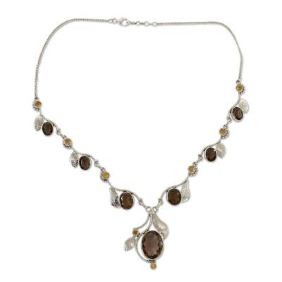 India Jewelry Smoky Quartz and Citrine Y-necklace