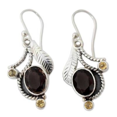 India Jewelry Smoky Quartz and Citrine Earrings