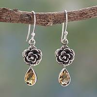 Citrine flower earrings, 'Golden Rose' - Citrine Floral jewellery from India