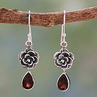Garnet flower earrings, 'Scarlet Rose' - Garnet Floral Jewelry from India