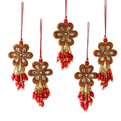 Beaded ornaments, 'Holiday Comets' (set of 5) - Embroidered Beaded Ornaments from India (set of 5)