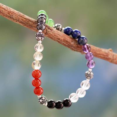 Multi-gemstone chakra stretch bracelet, 'Colorful Mantra' - Handmade Beaded Gemstone Chakra Bracelet from India
