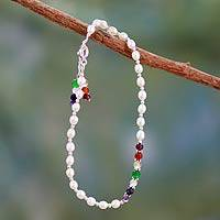 Cultured pearl and gemstone chakra anklet, 'Peace and Purity' - Handmade Pearl and Gemstone Chakra Anklet from India