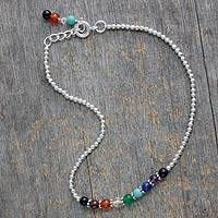 Multi-gemstone chakra anklet, 'Peace and Light' - Hand Made Gemstone Chakra Anklet from India