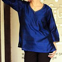 Silk tunic, 'Grand Sapphire' - Embellished Silk Tunic Blouse from India