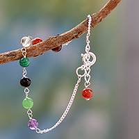Multi-gemstone chakra bracelet, 'Peace and Harmony' - Hand Made Gemstone Chakra Bracelet from India