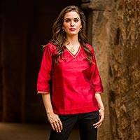 Silk tunic, 'Grand Ruby' - Embellished Silk Tunic Blouse from India