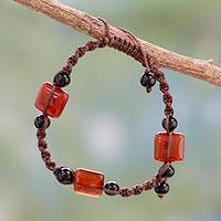 Agate and onyx beaded bracelet, 'Scarlet Trio' - India Macrame Agate and Onyx Bracelet