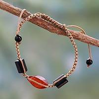 Onyx and agate cord bracelet, 'Midnight Flame' - Onyx and Red Agate Macrame Bracelet