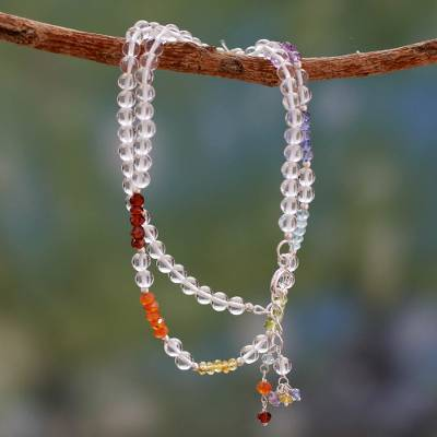 Multi gemstone chakra necklace, 'Inner Serenity' - Indian Gemstone Chakra Necklace