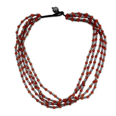 Handcrafted Carnelian and Hematite Necklace Beaded Jewelry