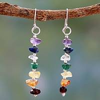 Multi gemstone chakra earrings, 'Rejoice' - Gemstone Chakra Theme Dangle Earrings