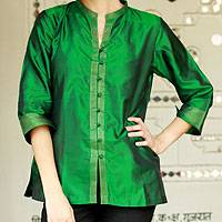 Silk blouse, 'Indian Emerald' - Women's Embroidered Green Silk Tunic