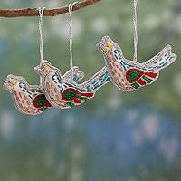 Beaded ornaments, 'Silver Doves' (set of 3) - Handcrafted Beaded Christmas Ornaments from India (Set of 3)