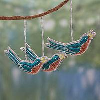 Beaded ornaments, 'Joyous Bluebirds' (set of 3) - Hand Beaded Bird Christmas Ornaments