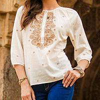 Cotton top, 'Majestic Gold' - Embroidered Gold on White Cotton Top