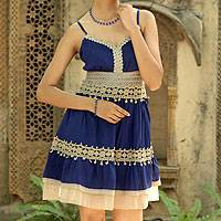 Viscose dress, 'Lapis Lady' - Lace Trim Blue Viscose Dress