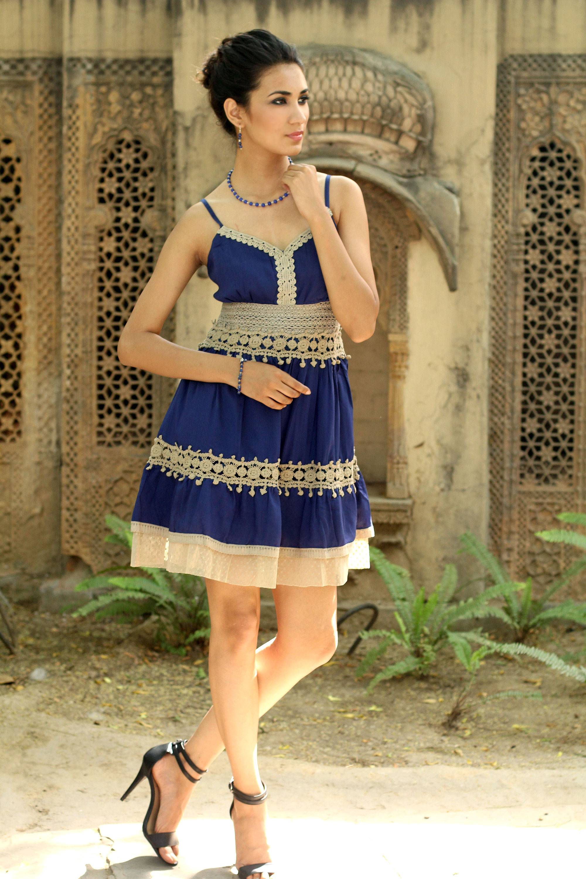 Lace Trim Blue Viscose Dress, 'Lapis Lady' - Fit and Flare, with some beautiful embroidery. NOVICA Fair Trade Blue Lace Spaghetti Straps