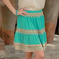 Viscose skirt, 'Ruffled Green' - Lace Trim Green Viscose Skirt
