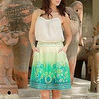 Cotton skirt, 'Seaside Garden' - Green and Turquoise Lined Embroidered Skirt with Pockets