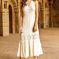 Cotton maxi dress, 'Flower Princess' - Lace Trim Long Ecru Cotton Dress