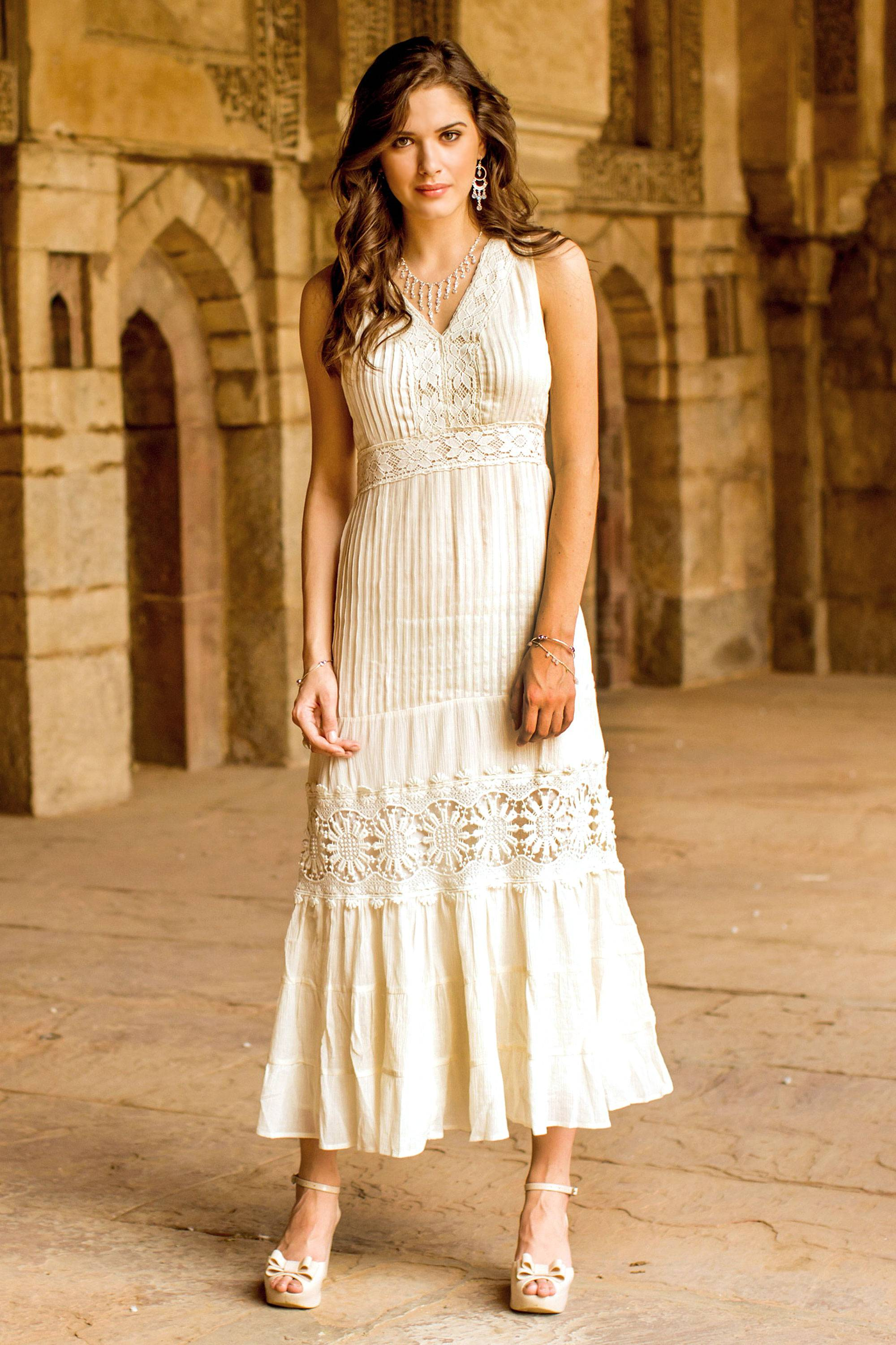 NOVICA Fair Trade Lace Trim Long Ecru Cotton Dress Flower Princess Fit and Flare, but can also be a Maxi dress!