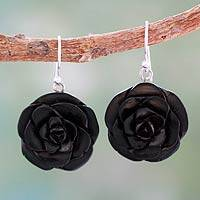 Ebony flower earrings, 'Jaipur Roses' - Ebony Jewelry Hand Carved Earrings from India