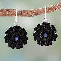 Ebony and sapphire flower earrings,