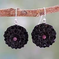 Ebony and sapphire flower earrings, 'Jaipur Jasmines' - Pink Sapphire and Ebony Handcrafted Earrings