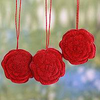 Ornaments, 'Red Rose Celebration' (set of 3) - Handcrafted Red Rose Ornaments (set of 3)