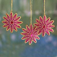 Beaded ornaments, 'Merry Pink Stars' (set of 3) - Handcrafted Beaded Star Ornaments (set of 3)