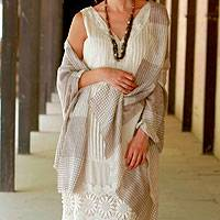 Wool shawl, 'Paisley Lands' - Taupe and Cream Super Soft Wool Shawl Wrap