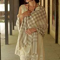 Wool shawl, 'Kashmiri Plaid' - Indian Super Soft Wool Shawl Wrap