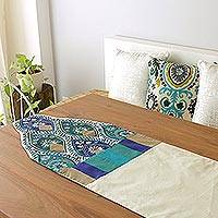 Applique table runner, 'Indian Palace' - India Embroidered Applique Table Runner
