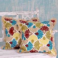 Embroidered cushion covers, 'Floral Delight' (pair) - Floral Embroidered Cushion Covers with Ruffles (Pair)