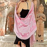 Jamawar wool shawl, 'Pastel Dreams' - Warm Wool Jamawar Shawl Wrap