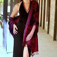 Jamawar wool shawl, 'Crimson Extravaganza' - Jamawar Style Wool Shawl Wrap from India