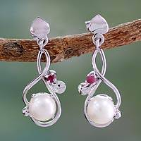 Cultured pearl and ruby dangle earrings,