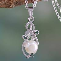 Cultured pearl and emerald pendant necklace, 'Romantic' - Fair Trade Pearl and Emerald Necklace