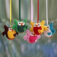 Wool ornaments, 'Heartfelt Owls' (set of 5) - Colorful Wool Felt Owl Ornaments from India (set of 5)
