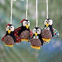 Wool ornaments, 'Happy Pompom Penguins' (set of 4) - Handcrafted Wool Felt Penguin Ornaments (set of 4)