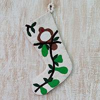 Wool Christmas stocking, 'Partridge in a Pear Tree' - Wool Felt Christmas Stocking from India