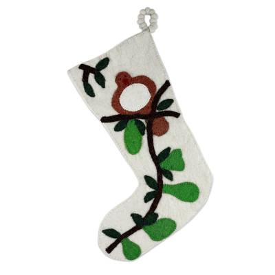 Wool Felt Christmas Stocking from India