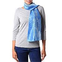 Silk batik scarf,  'Sapphire Peacock' (India)